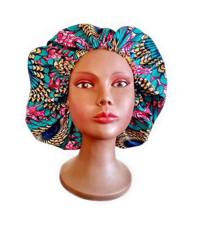 Balanta Cosmetics - Bonnet en satin doublé d'un tissu wax Africain